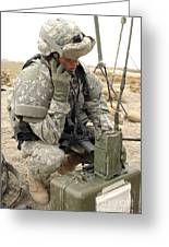 U.s. Army Soldier Performs A Radio Greeting Card by Stocktrek Images