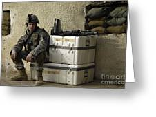U.s. Army Soldier Relaxing Before Going Greeting Card