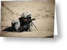 U.s. Army Soldier Sights In A Barrett Greeting Card
