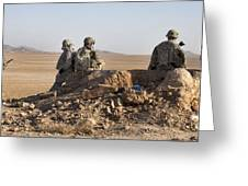 U.s. Army Soldiers At A Checkpoint Greeting Card