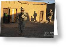 U.s. Army Soldiers Conduct A Dismounted Greeting Card