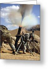 U.s. Army Soldiers Firing A 120mm Greeting Card