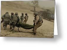U.s. Army Soldiers Medically Evacuate Greeting Card
