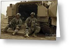 U.s. Army Soldiers Waiting At Patrol Greeting Card