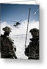 U.s. Army Soldiers Watch The Arrival Greeting Card