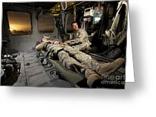U.s. Army Specialist Practices Giving Greeting Card