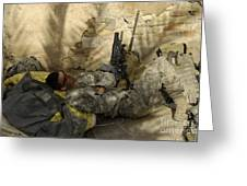 U.s. Army Specialist Takes A Nap Greeting Card