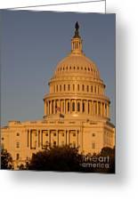Us Capital Dome Sunset Glow Greeting Card
