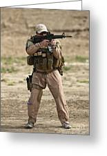 U.s. Contractor Firing A M4 Carbine Greeting Card