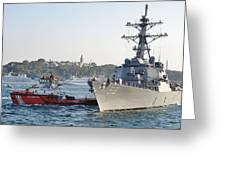 Us Cruiser Docking In Istanbul Greeting Card