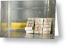 Us Dollar Bills In A Bank Cart Greeting Card