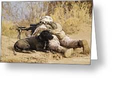 U.s. Marine And A Military Working Dog Greeting Card