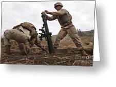 U.s. Marine Drops A Mortar Round Greeting Card