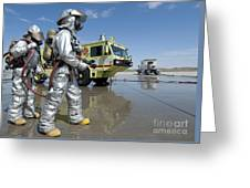 U.s. Marine Firefighters Stand Ready Greeting Card