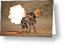 U.s. Marine Fires A Rpg-7 Grenade Greeting Card