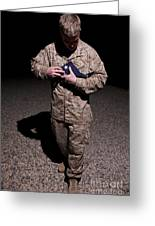 U.s. Marine Holding The American Flag Greeting Card