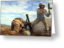 U.s. Marine Holds A Mortar Tube Steady Greeting Card