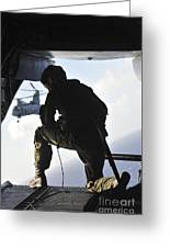 U.s. Marine Looks Out The Back Greeting Card