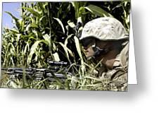 U.s. Marine Maintains Security Greeting Card