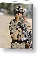 U.s. Marine Radios His Units Movements Greeting Card by Stocktrek Images