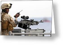 U.s. Marine Talks On A Radio While Greeting Card by Stocktrek Images