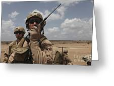 U.s. Marine Uses A Radio In Djibouti Greeting Card by Stocktrek Images