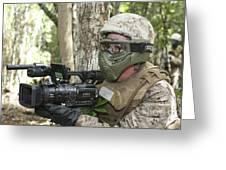 U.s. Marine Videotapes Combat Exercises Greeting Card