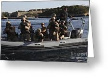 U.s. Marines Approach A Suspect Vessel Greeting Card