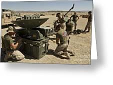 U.s. Marines Assemble A Satellite Dish Greeting Card