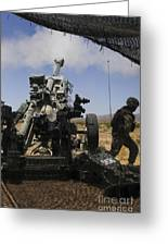 U.s. Marines Fire An M777 Howitzer Greeting Card