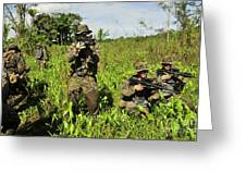 U.s. Marines Guard An Extraction Point Greeting Card