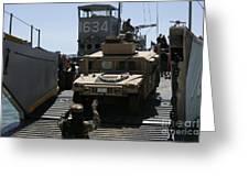 U.s. Marines Load An M1114 Humvee Onto Greeting Card
