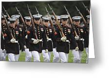 U.s. Marines March By During The Pass Greeting Card