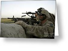 U.s. Marines Observe The Movement Greeting Card by Stocktrek Images