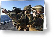U.s. Marines Practice Firing Greeting Card