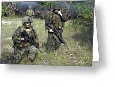 U.s. Marines Secure A Perimeter Greeting Card