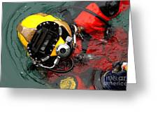 U.s. Navy Diver Is Lowered Greeting Card by Stocktrek Images