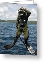 U.s. Navy Diver Jumps Off A Dive Greeting Card