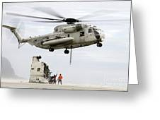 U.s. Sailors Assist A Ch-53d Sea Greeting Card