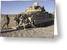U.s. Soldiers Exit From An M2 Bradley Greeting Card