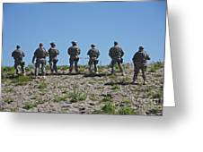 U.s. Soldiers Looking Over The Side Greeting Card