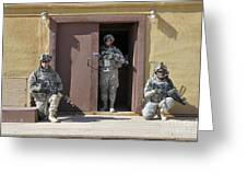 U.s. Soldiers On Guard At Fort Irwin Greeting Card