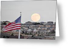 Usa Flag And Moon Greeting Card
