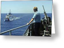 Uscgc Thetis Approaches A German Combat Greeting Card