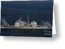 Uss Bunker Hill Fires Two Mk-45 5 Greeting Card