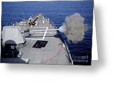 Uss Halsey Fires Its Mk-45 Greeting Card
