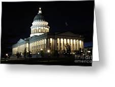 Utah Capitol At Night Greeting Card by Gary Whitton