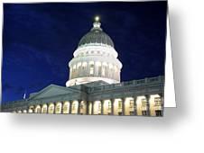 Utah Capitol Building At Twilight Greeting Card