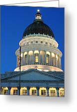 Utah State Capitol Building Dome At Sunset Greeting Card
