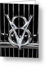 V-8 Car Emblem Greeting Card